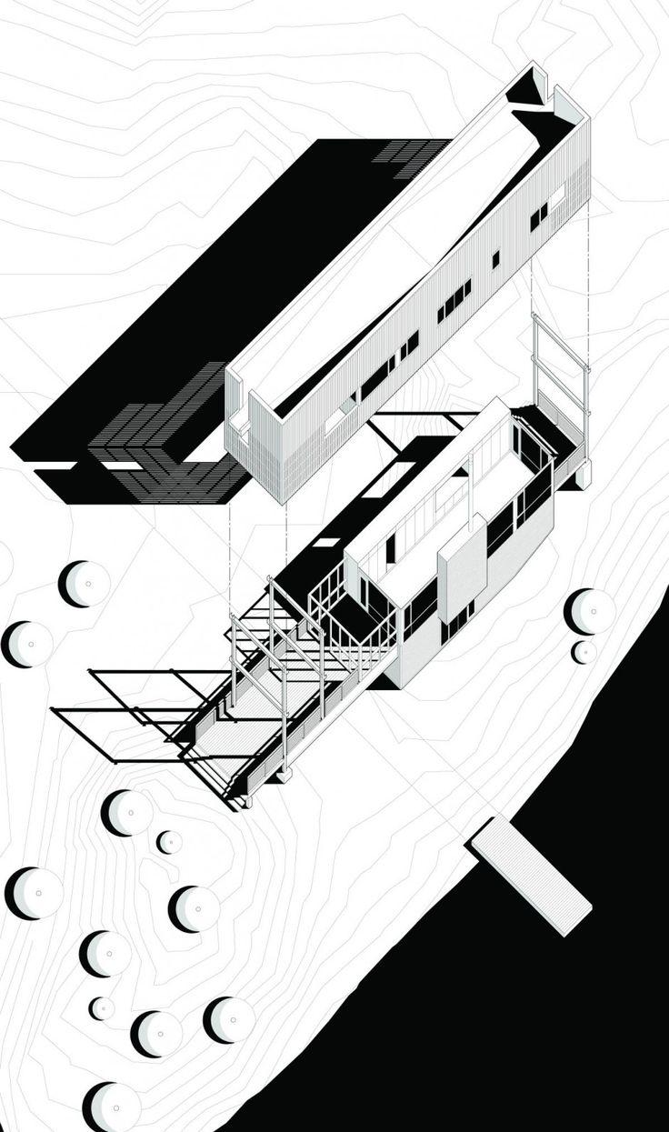I love exploded axonometric drawings Bridge House by MacKay-Lyons Sweetapple Architects