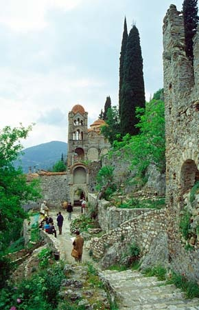 At the fortified town of Mystras in Laconia, Peloponnese