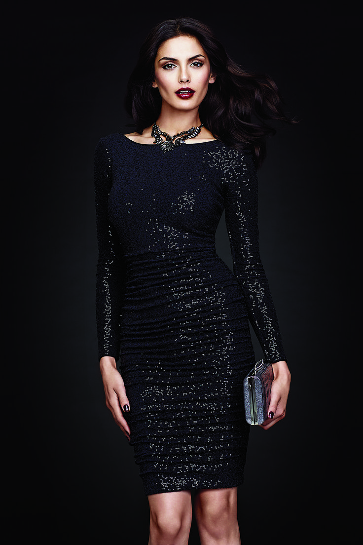 All-Over Ruched Sequin Dress