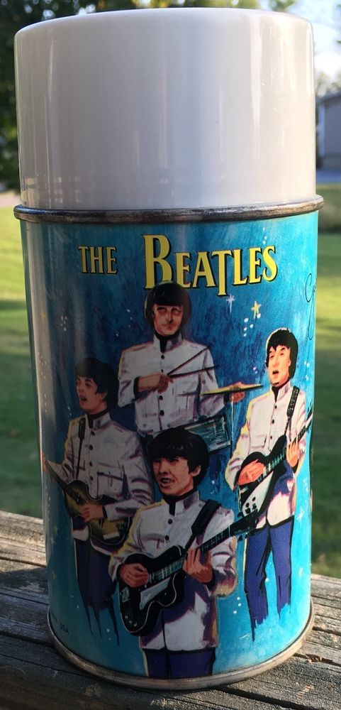 1965 Aladdin Thermos The Beatles *Super Nice* Highly Collectible*White Lid* Rare  | eBay