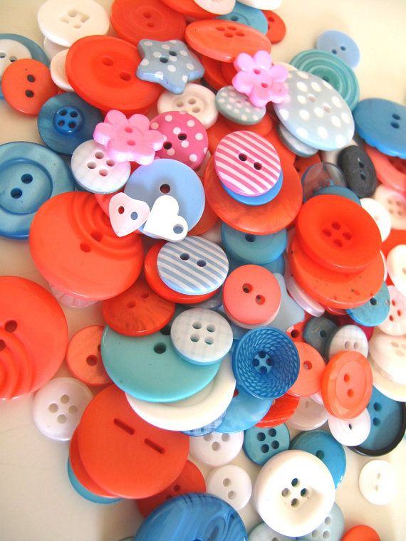 Buttons Sea Coral NEW 100g mixed buttons bag UK by BigFish on Etsy, £7.50