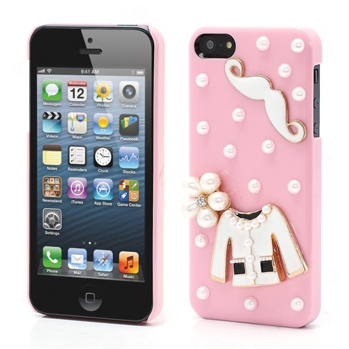 Wholesale Cloth and Mustache Pearl Hard Cover Skin Case for iPhone 5 - Pink - iPhone 5 Hard Cases