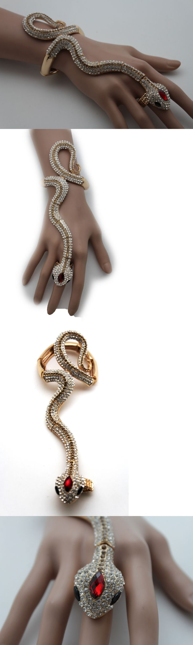 Bracelets 50637: Women Gold Slave Hand Chain Bracelet Elastic Ring Jewelry Long Snake Wrap Around BUY IT NOW ONLY: $34.99
