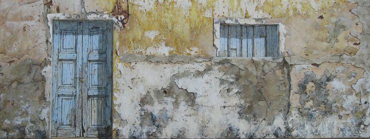 Muur met Raam en Deur in Vila Real. Acryl op paneel, 30 x 80 cm. Alma de Leeuw - van Wilgenburg