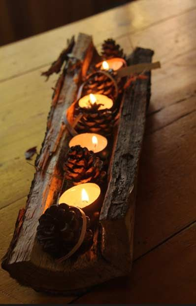 Rustic Candle Centerpiece for Thanksgiving