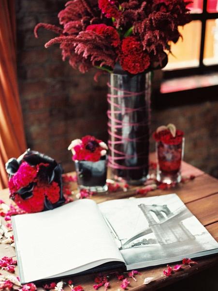 Photography by Robert Sukrachand, www.sukrachand.com #wedding #mymoon #coffeebook #guestbook #pink #red #coxcomb #purple #tall #arrangement #fuschia #nyc #nyctheme #rustic #urban #eventus