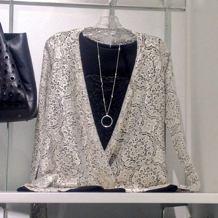 Lace silver waterfall gilet at #Nicci