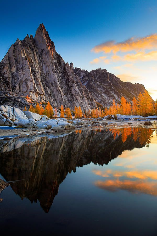 ✮ Prusik Peak from Gnome Tarn reflecting in the Enchantment Lakes area of the Alpine Lakes Wilderness, Washington
