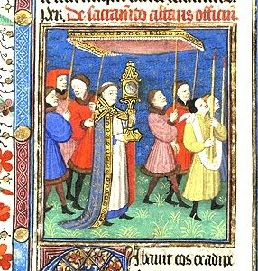 Corpus Christi Procession from Missal French (possibly Angers), ca. 1427 New York, Morgan Library MS M146, fol. 141 (detail)