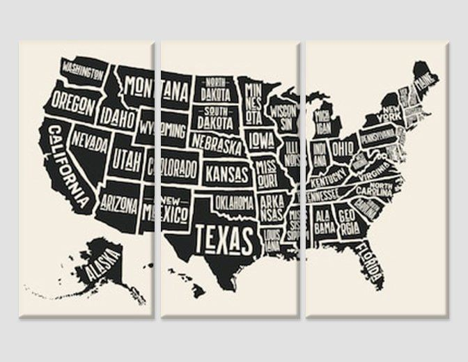 United States Map Canvas Wall Art.Black White Usa Map Wall Art United States Map Canvas Art Push Pin