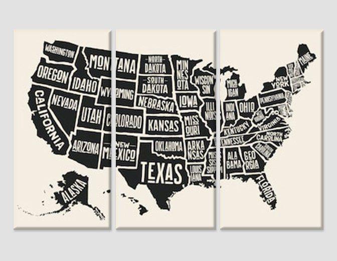 Black White Usa Map Canvas Print Usa Wall Art United States
