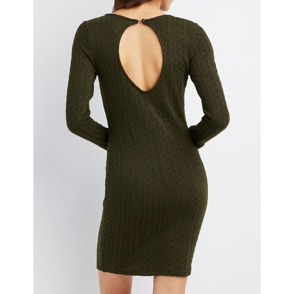 Charlotte Russe Cable Knit Bodycon Sweater Dress ($25) ❤ liked on Polyvore featuring dresses, olive, brown bodycon dress, olive green sweater dress, brown long sleeve dress, sweater dress and bodycon dress