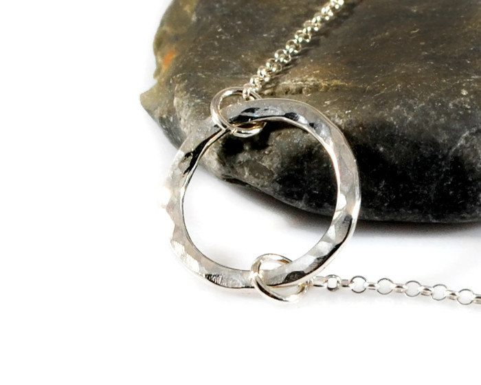 Tiny Karma Necklace. Hammered Eternity Necklace. Sterling Silver Open Circle Necklace. Mothers Day Necklace.Minimalist Jewelry. By GSminimal