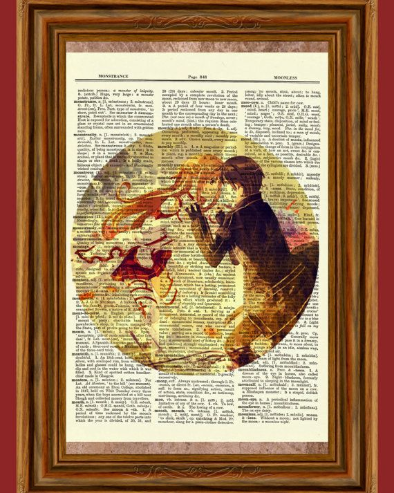 Sword Art Online Kirito & Asuna SAO Upcycled Dictionary Art Print Poster