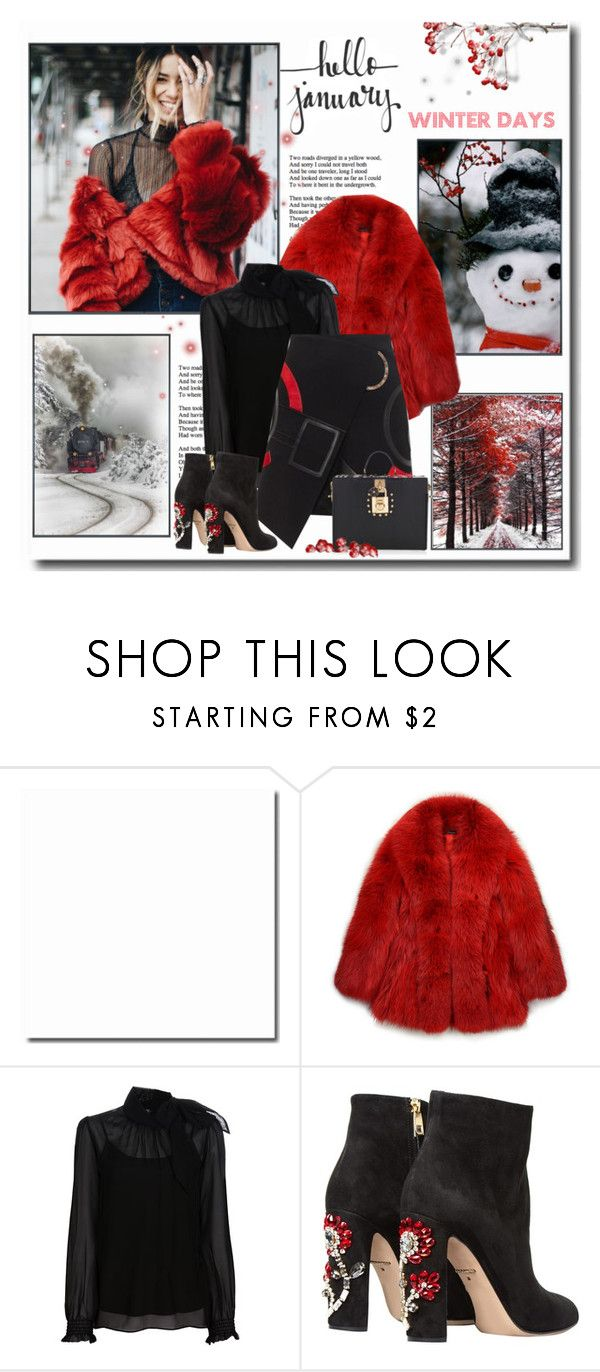 """Winter Season 2018 / *Hello January* Red / Black"" by mrswomen ❤ liked on Polyvore featuring Forever 21, GUILTY BROTHERHOOD, RED Valentino, David Koma and Dolce&Gabbana"