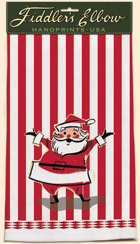 Retro Santa Towel These Kitchen Towels are made from 100% Cotton, with a silk screened pattern that is sure to bring you back to the vintage, retro era. In the kitchen or the bath these towels are sur