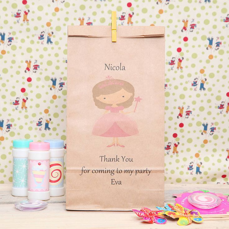 personalised princess party bag by red berry apple | notonthehighstreet.com