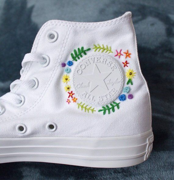 Floral Embroidered Converse | Embroidery shoes, Embroidered