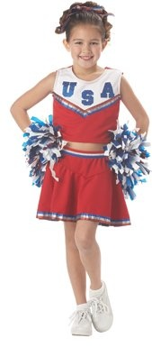 CHILD RED Traditional Patriotic Cheerleader Costume