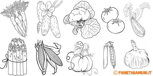 Disegni di verdure da stampare e colorare