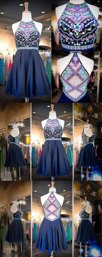 Navy Chiffon Sweet 16 Dresses Real Images Halter Neck Colorful Beaded Sequins Crystals Cheap Homecoming Gowns with Illusion Back