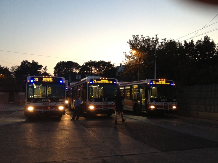 TTC buses lined up at the Dufferin Loop near the CNE