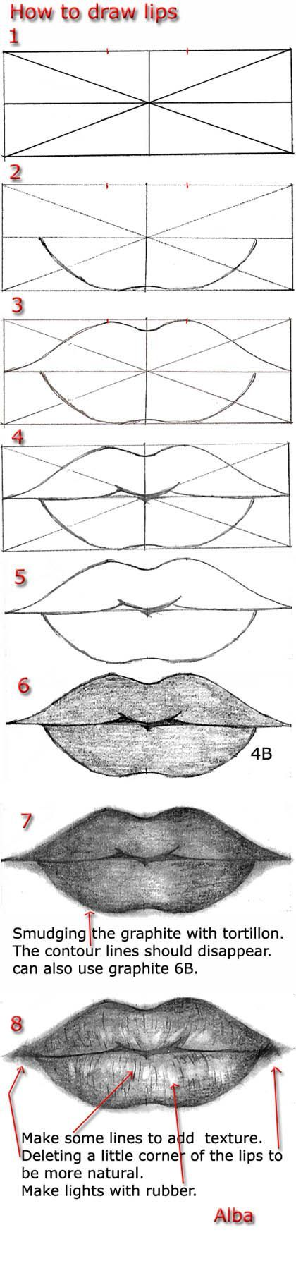 How to draw realistic lips.