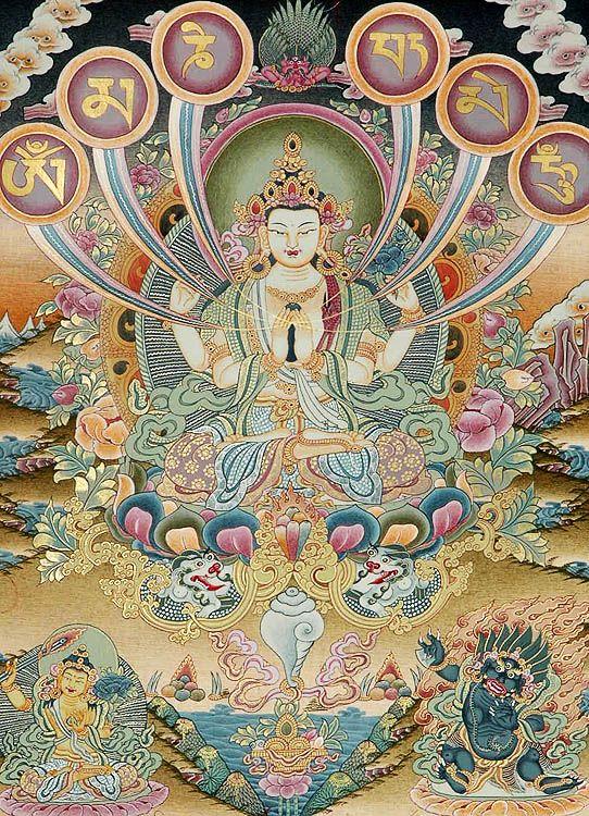 Chenrezig (Avalokiteshvara) with six syllable mantra, OM MA NI PAD ME HUM. Bodhisattva Chenrezig symbolizes the peaceful aspect of the compassionate mind.