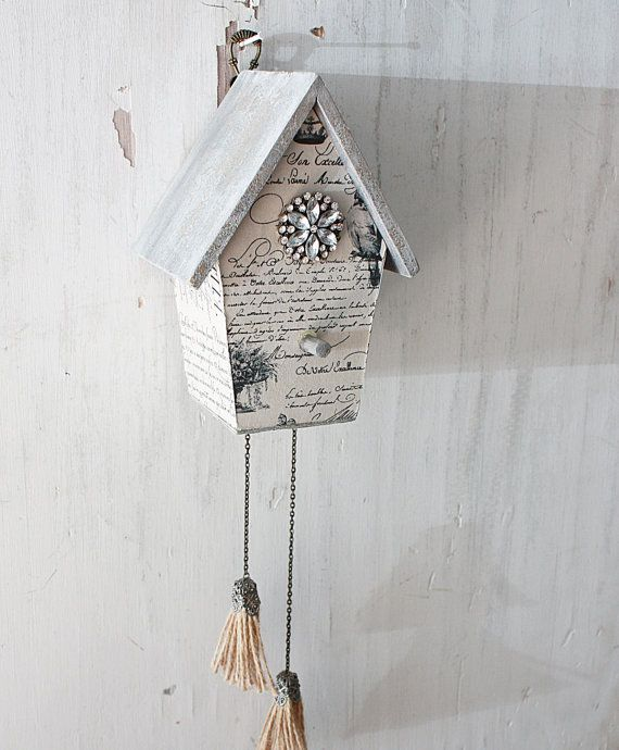a weathered french farmhouse birdhouse    part of a new line of weathered birdhouses...    this one is to resemble a cuckoo clock    a classic