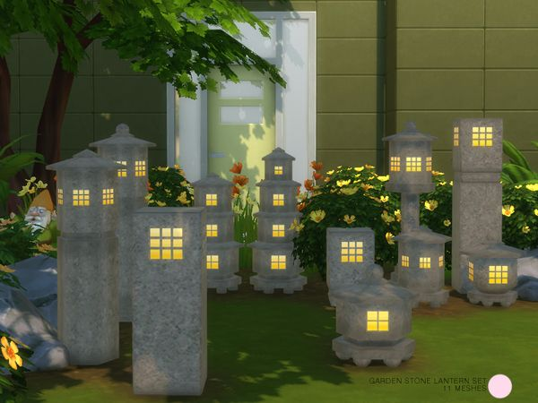 Garden Stone Lantern Set by DOT at TSR • Sims 4 Updates