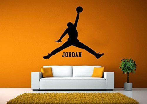 Leisure4U Jordan Jumpman Basketball Player Personalized Name Mural Wall Decor Sticker Decal Removable Vinyl Name Wall Art Decal ** Check this awesome product by going to the link at the image. (Note:Amazon affiliate link)