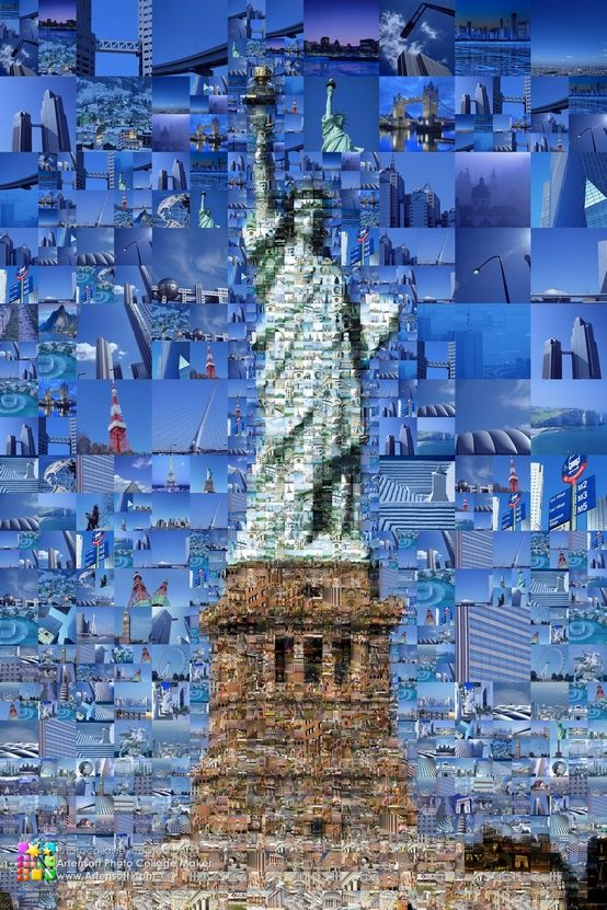 World wide attractions in this Statue of Liberty photo collage