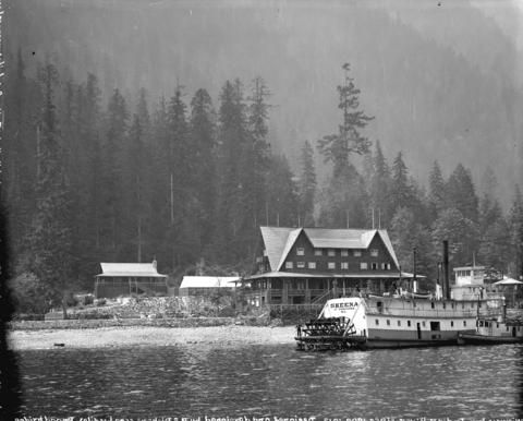 "The sternwheeler ""Skeena"" in front of the Wigwam Inn The inn is still there but…"