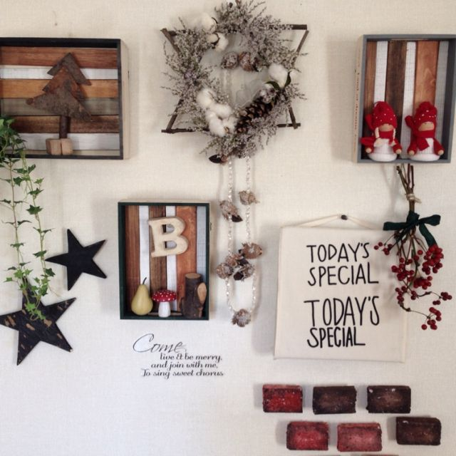 chiekoさんの、TODAY'S SPECIAL,サンキライ,手作りリース,yurikoさんの星,レンガ風,セリアの木箱リメイク,TODAY'S SPECIAL,クリスマス,壁/天井,のお部屋写真