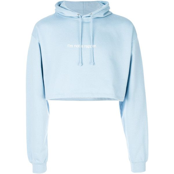 F.A.M.T. cropped hoodie (156 CAD) ❤ liked on Polyvore featuring tops, hoodies, crop top, blue, blue crop top, blue hoodies, cropped hoodie, unisex tops and sweatshirt hoodies