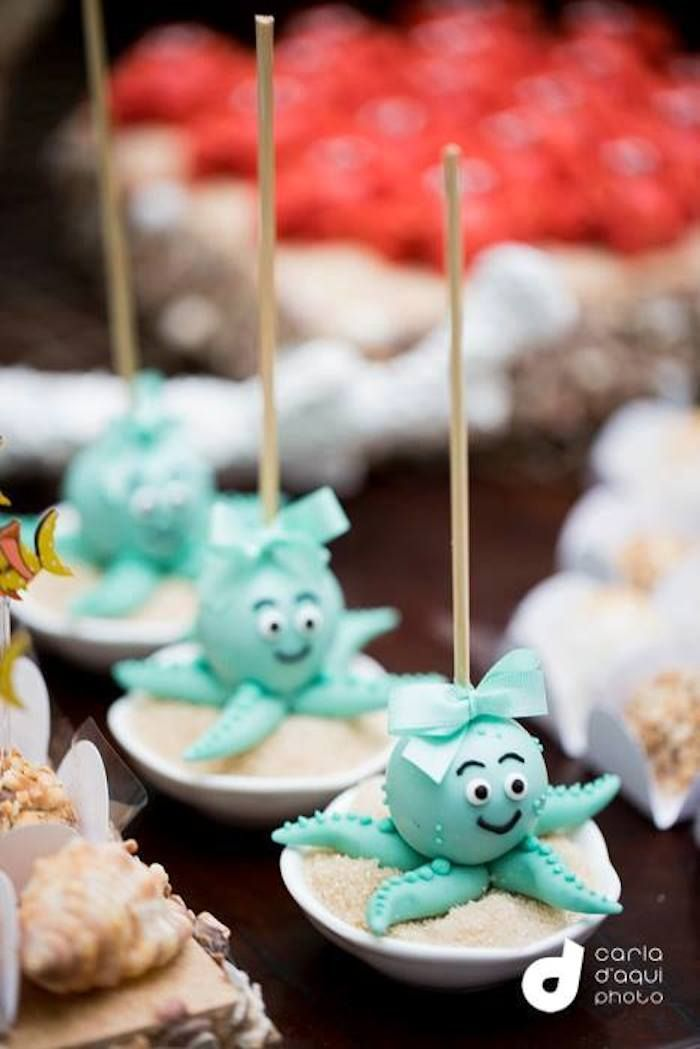 Under the Sea themed birthday party with Lots of Really Cute Ideas via Kara's Party Ideas | Cake, decor, cupcakes, favors, printables, and M...