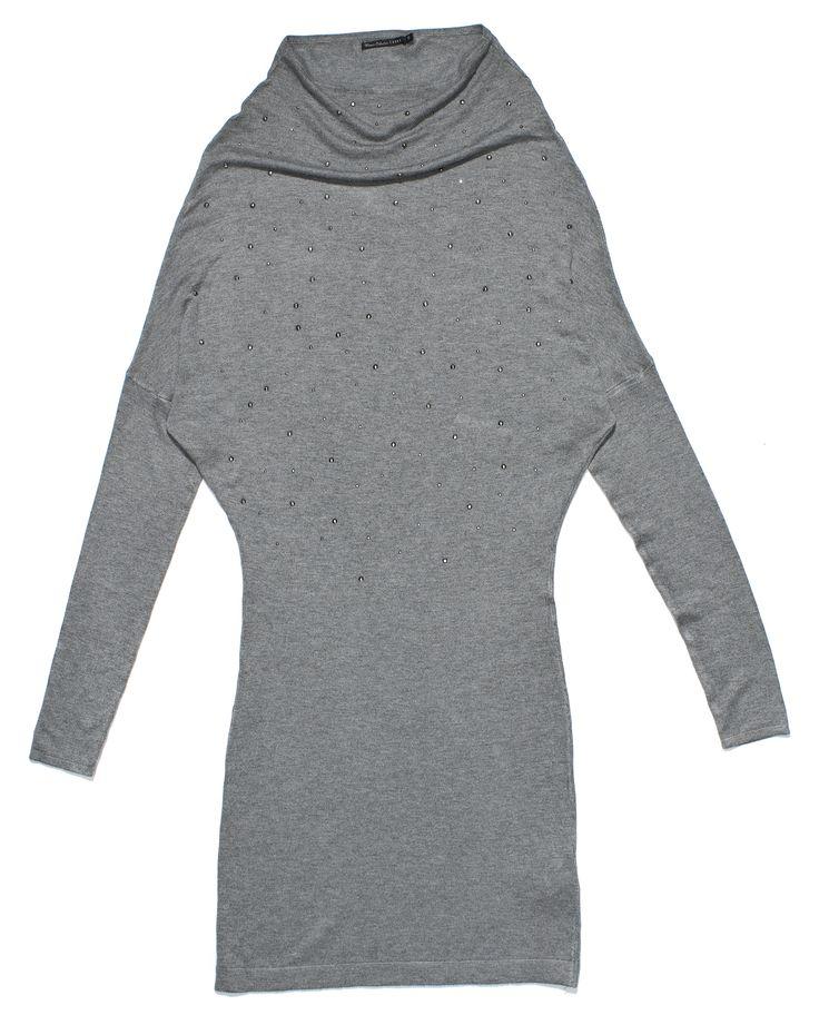 fr-l0-021, szara sukienka z długim rękawem i srebrnymi drobinkami