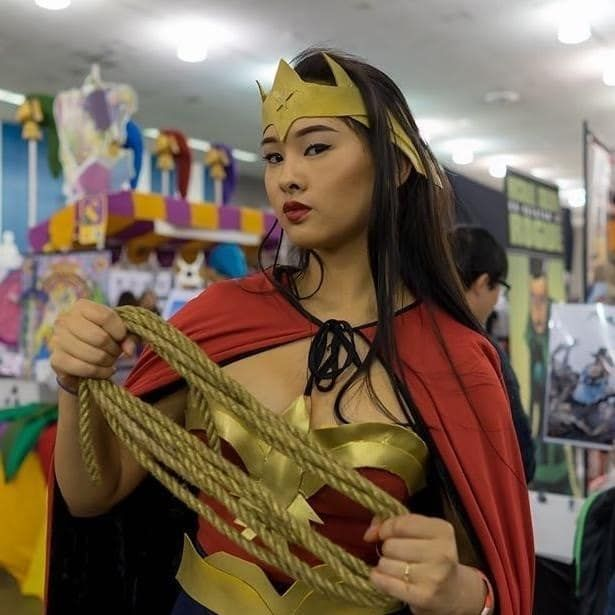"""""""I used an old bra and red shirt to make the bustier, an old skirt, my dad's old Dracula cape, some rope I found at the dollar store, and gold foam from a craft store. I think i spent a chill $5 on this Wonder Woman cosplay."""" —kriselthemissile"""