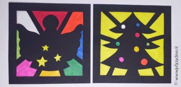 Benodigdheden:  - zwart A4 papier (gesneden in 21 x 21cm)  - schaar (evt. voor lagere groepen een prikpen/-matje)  - lijm  - vliegerpapi...