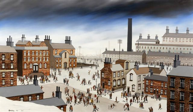'Everton Road, Liverpool'. Painted in 1977 by Brian Shields (Braaq).