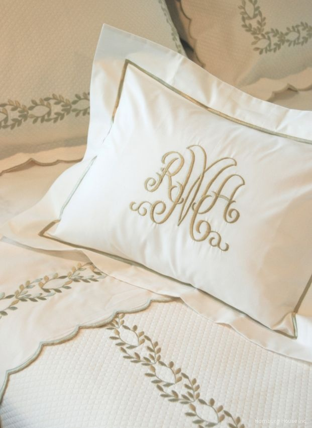 Sham Perfection = monogram - linens - bedding - interiors - bedroom