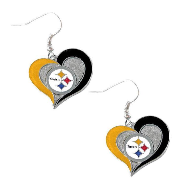 Swirl Heart Steelers Earrings