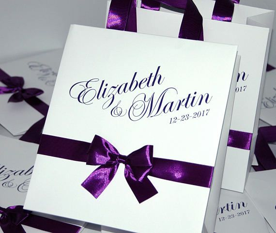 25 Purple Wedding Welcome Bags with satin ribbon bow and your