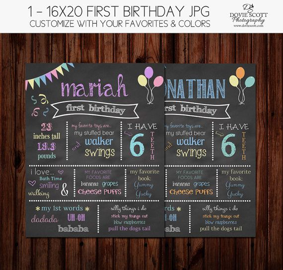 Birthday chalkboard of favorite things template 16x20 first birthda for First birthday chalkboard template