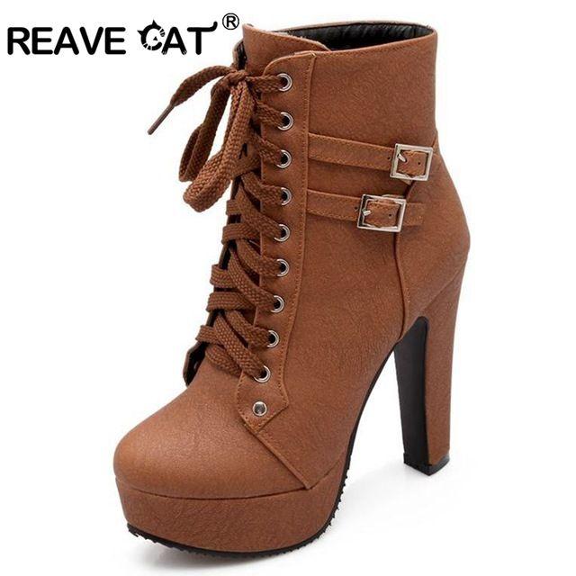 REAVE CHAT 2017 Automne Hiver Femmes Cheville Bottes talons hauts dentelle up en cuir double boucle plate-forme courte chaussons nouveau noir PA218
