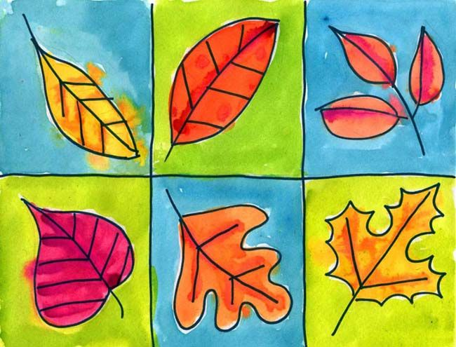 Leaves in a Grid | Art Projects for Kids