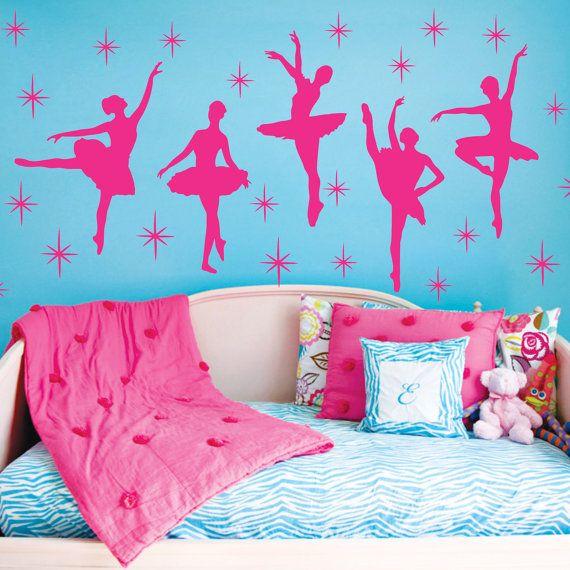 Ballet Dance Ballerinas Stars Custom Vinyl Wall Decals Saying Quote Art Stickers Nursery Kids Girls