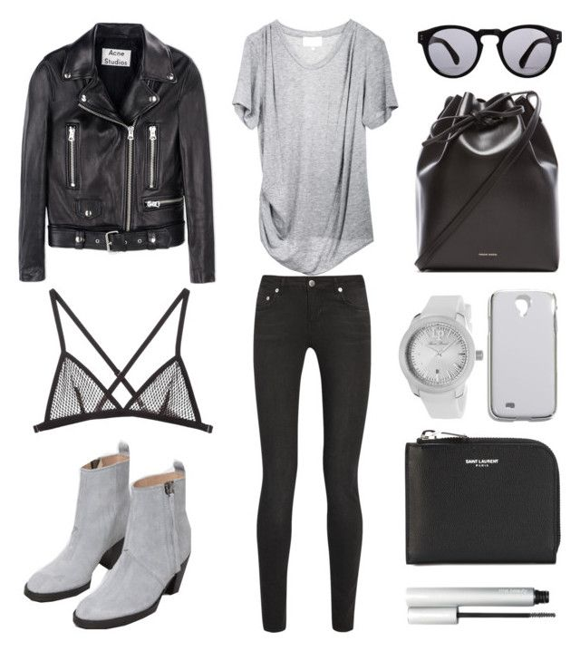 Grey Accents by fashionlandscape on Polyvore featuring Mode, 3.1 Phillip Lim, Acne Studios, BLK DNM, Fleur du Mal, Mansur Gavriel, Yves Saint Laurent, Lucien Piccard, Madewell and Illesteva