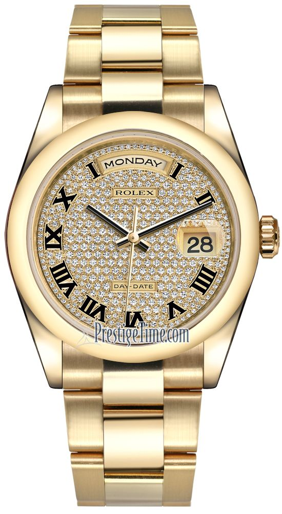New Rolex Day Date mm Yellow Gold Domed Bezel Pave Diamond Black Roman Oyster