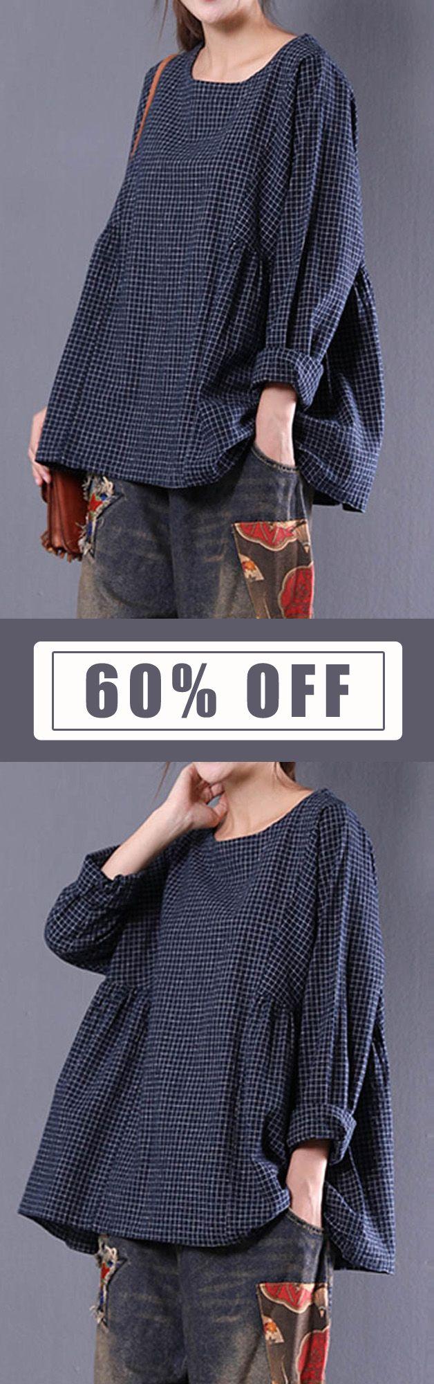Women Crewneck Check Long Sleeve Loose Baggy Blouses. Casual Style, Loose Style, Long Sleeve, O-Neck. Color:Black,Blue. Size:M,L,XL,XXL,XXXL,XXXXL,5XL. Suitable in Fall, Spring, Winter. Buy now!  #women #blouse #fashion http://laboheme.life
